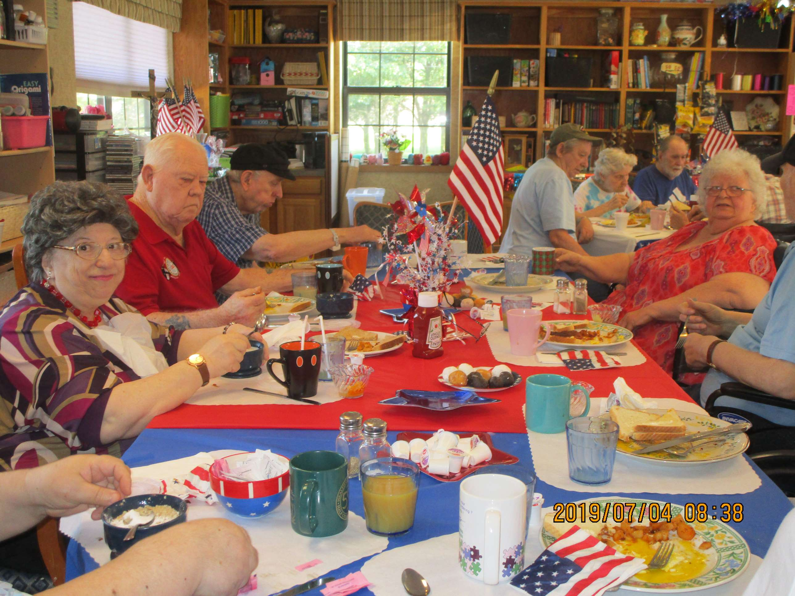 crystal lake rehab celebrate the 4th eating breakfast platters